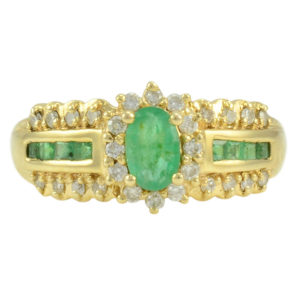 Oval Center Emerald Ring With Diamonds