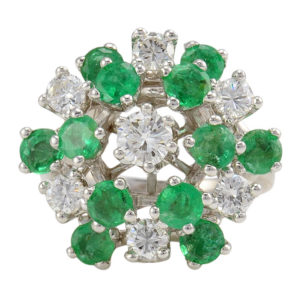 Center Diamond and Emerald Ring