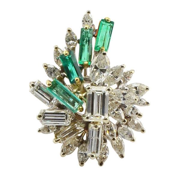 18 Karat Gold Emerald and Diamond Ring