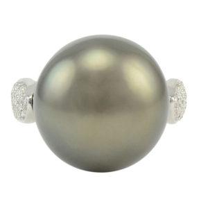 Platinum Natural South Seas Pearl Ring