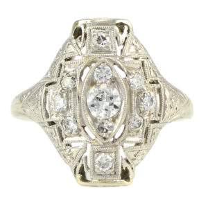 Platinum and 18 Karat White Gold Art Deco Diamond Ring
