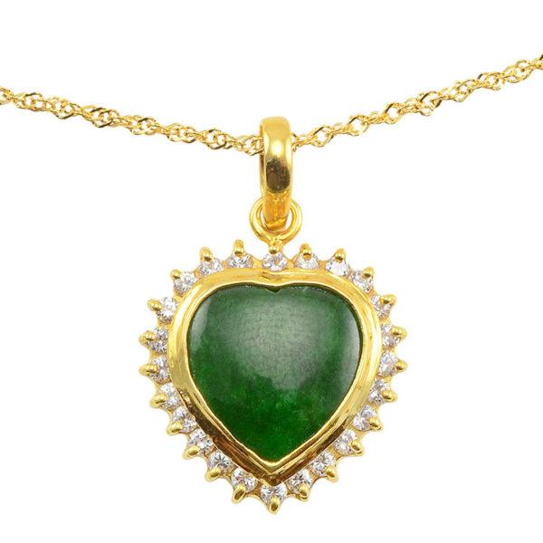 18 Karat Yellow Gold Heart Shaped Jade Pendant