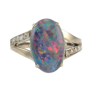 Opal Triplet and Diamond Ring