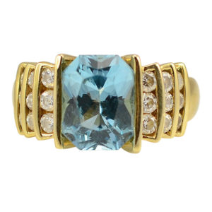 3.06 Carat Blue Topaz Ring With Diamonds