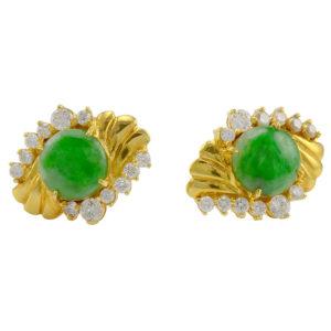 18 Karat Yellow Gold Jade and Diamond Earrings