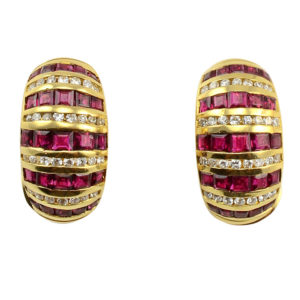18 Karat Yellow Gold Ruby and Diamond Earrings