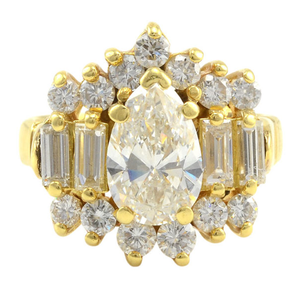 18 Karat Yellow Gold 2.75 CTW Multi Diamond Ring