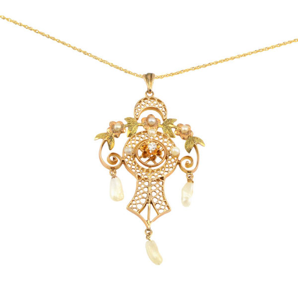 Filigree Pearl and Diamond Pendant