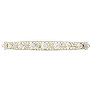 Platinum and 18K Gold Edwardian Diamond Bar Pin