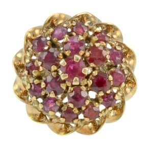 18 Karat Yellow Gold Ruby Princess Ring