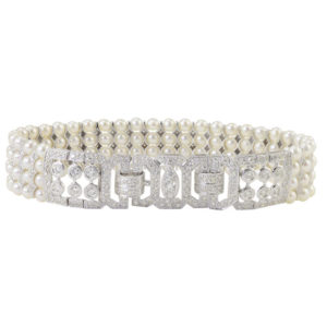 3.50 CTW Diamond and Four Strand Pearl Bracelet