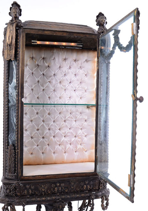 French Cast Metal Curio Cabinet With Marble Top