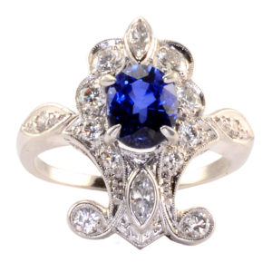 Platinum 1.45 Carat Sapphire and Diamond Ring