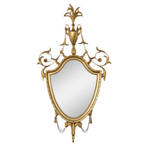 Gilt Wood Shield Shaped Wall Mirror