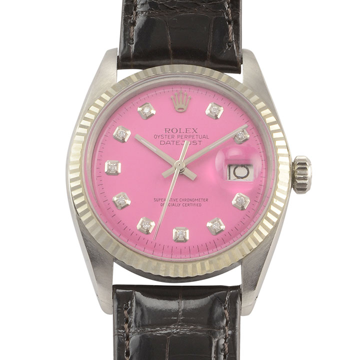 6066e6b2003 Rolex Datejust Perpetual Pink Dial Stainless Steel Wrist Watch - Solvang  Antiques