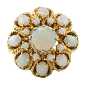 0.63 Carat Center Opal Cluster Ring