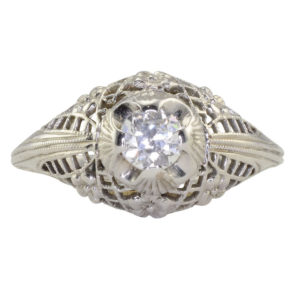 0.30 Carat Center Diamond Filigree Ring