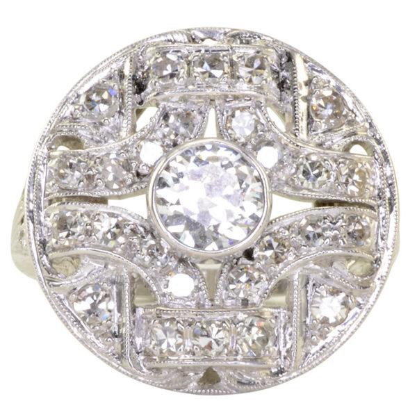 Art Deco 0.70 Carat Center Diamond Platinum Ring