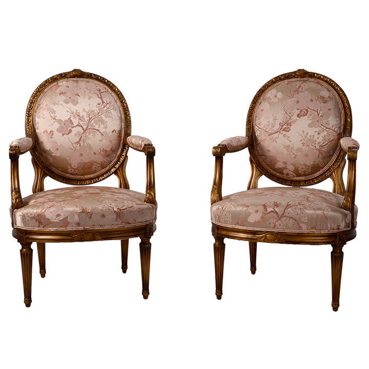 French Louis XVI Style Gilt Gesso Armchairs