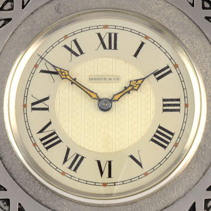 Shreve & Co Swiss Arts and Crafts Travel Alarm Clock - Solvang Antiques