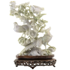 Jadeite Carving of Birds and Flowering Branches