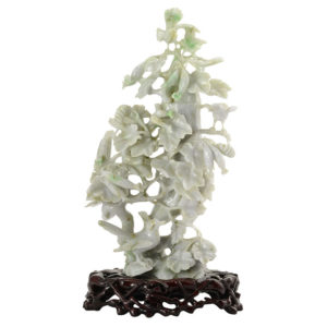 Jadeite Carving Birds in Flowering Tree