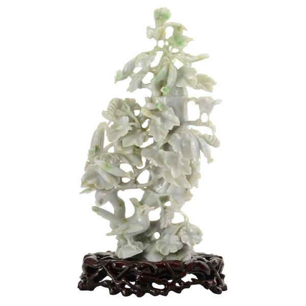 Jadeite Carving Birds in Flowering Tree