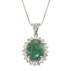 5.74 Carat Oval Emerald Diamond Pendant