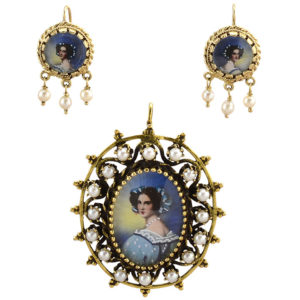 Italian Hand Painted Portrait Pendant and Earrings