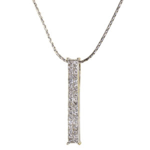 0.72 CTW Diamond 18K White Gold Bar Pendant on Chain