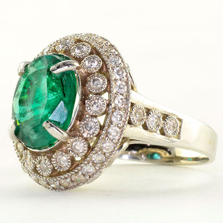 2 62 Carat Oval Emerald and Diamond Ring Solvang Antiques