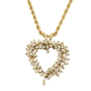 0.99 CTW Diamond Heart Pendant on Chain
