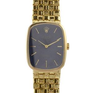 Rolex Cellini 18K Gold Original Blue Dial Ladies Wrist Watch