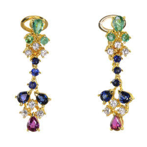 Emerald Diamond Sapphire and Ruby 18K Gold Earrings