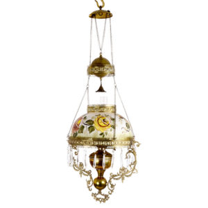 Victorian Hand Painted Brass Hanging Oil Lamp