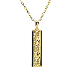 Artistica Rectangular Enameled Floral Pendant and Chain
