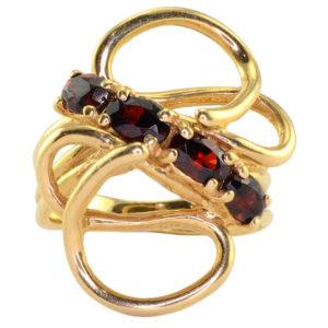 Oval Garnet Free Form Design Ring