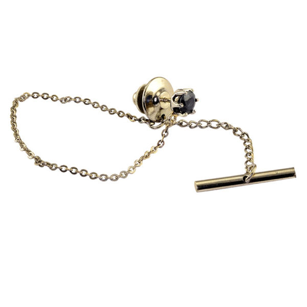 0.82 Carat Sapphire Tie Tack and Chain