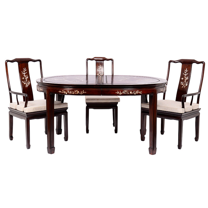 Chinese Rosewood Mother Of Pearl Inlay Dining Table And Chairs