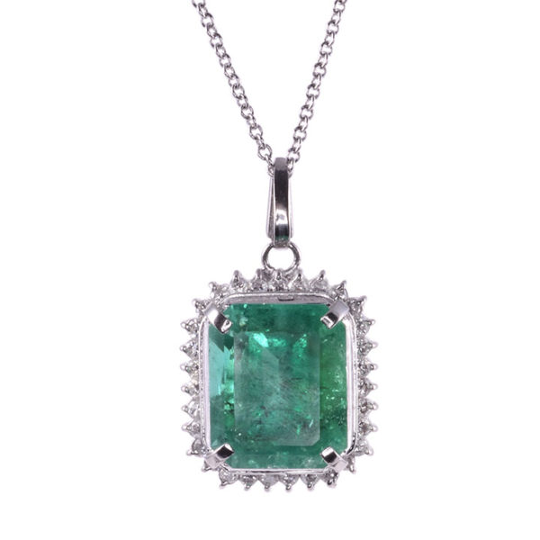 7.48 Carat Emerald and Diamond Platinum Pendant