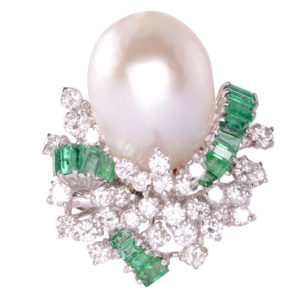 Baroque Pearl Emerald and Diamond Ring