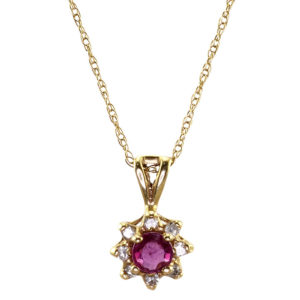 0.16 Carat Ruby and Diamond Pendant