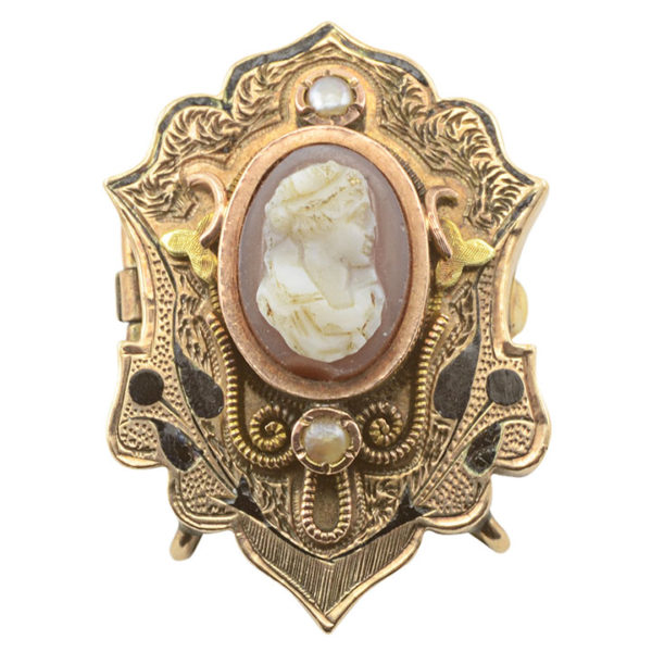Carnelian Cameo and Seed Pearl Pin Or Pendant