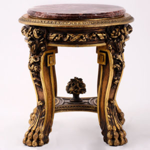 Italian Ornately Carved Round Gilt Gesso Table