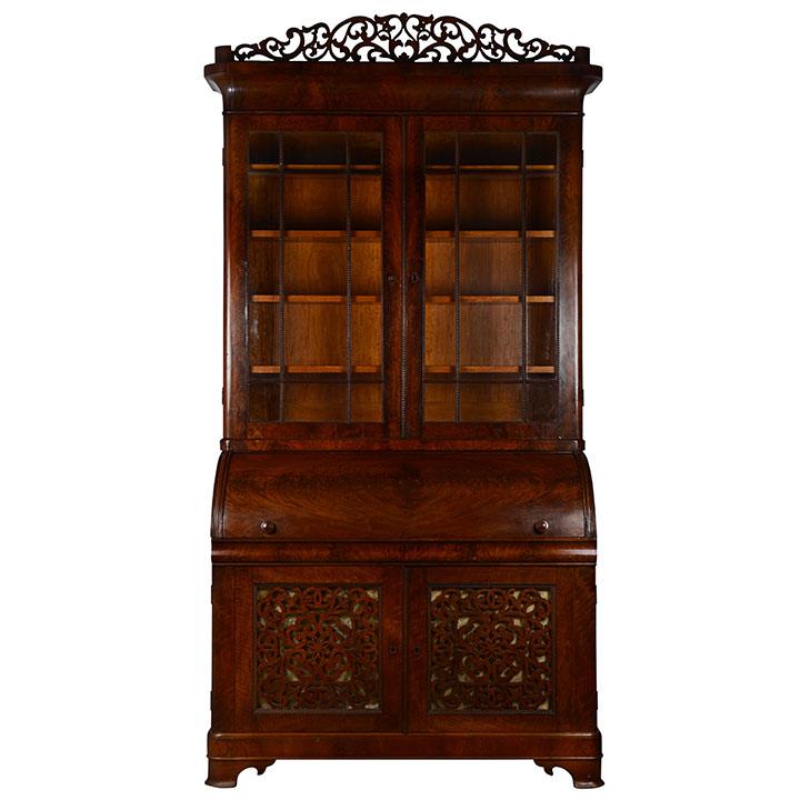 - Mahogany Secretary Roll Top Desk - Solvang Antiques