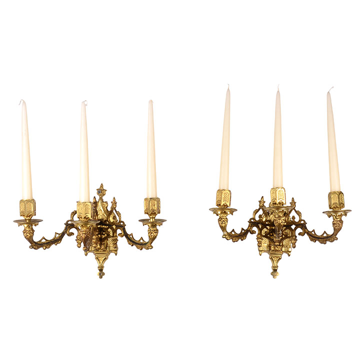 Pair Of Gilt Bronze Wall Sconces Solvang Antiques
