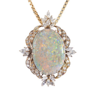 Oval Opal and Diamond Pendant