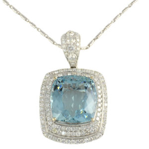 26.85 Carat Aquamarine Pendant Enhancer with Diamonds