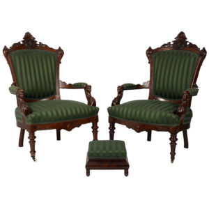 Pair of Victorian Arm Chairs and Footstool