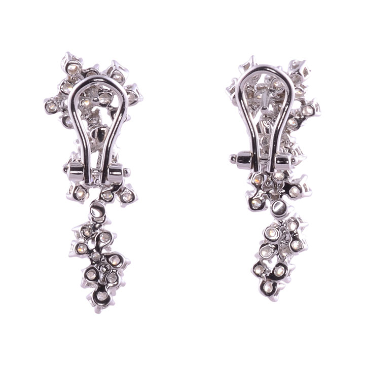 2 90 Ctw Vvs Diamond Cluster Earrings Solvang Antiques